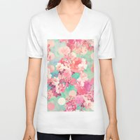 preppy V-neck T-shirts featuring Romantic Pink Retro Floral Pattern Teal Polka Dots  by Girly Trend