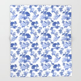 Classic French Toile Countryside Deer Pattern Throw Blanket