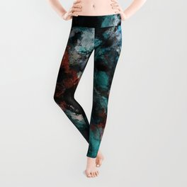 Abstract and Modern Teal Painting Leggings