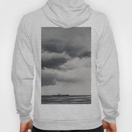 Storm Clouds Gathering Over Shipwreck, Abandoned Shipwreck In Ocean, Seascape Print Photo, Wall Art Hoody