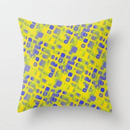 Blue Smudged Shapes On Yellow Throw Pillow