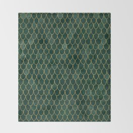 Mermaid Fin Pattern // Emerald Green Gold Glittery Scale Watercolor Bedspread Home Decor Throw Blanket