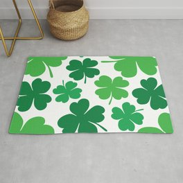 Lucky 4 Leaf Clover Pattern (green/white) Rug