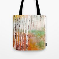 birch Tote Bags featuring Birch  by Indraart