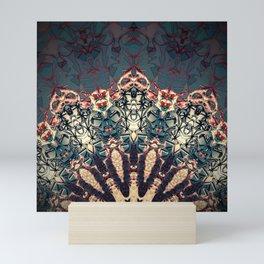 Teal Beige Textured Half Mandala Mini Art Print