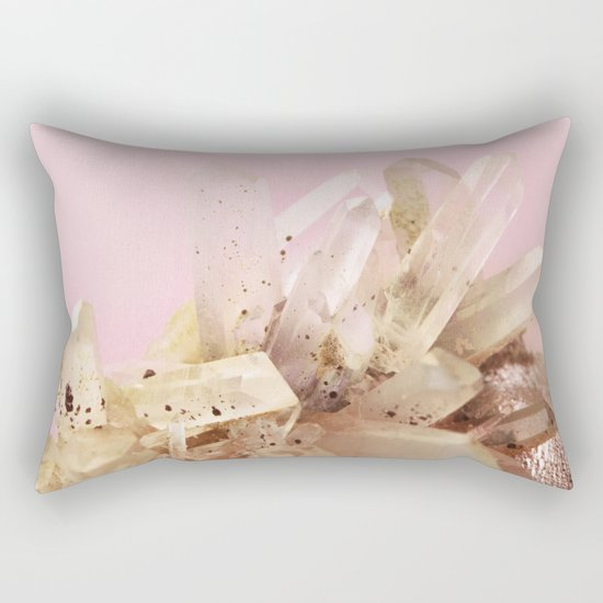 Quartz Crystals on Blush Rectangular Pillow