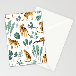 Tropical jungle leaves and lions pattern Stationery Cards