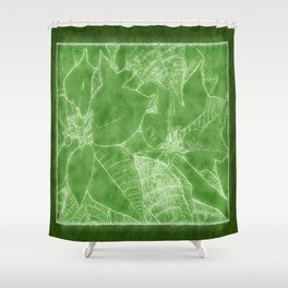 Poinsettias Outlined Green Shower Curtain