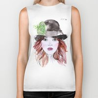 emma stone Biker Tanks featuring Emma Stone by Vicky Ink.