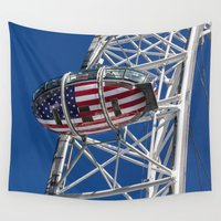 world cup Wall Tapestries featuring The London Eye Rugby World Cup 2015 by David Pyatt