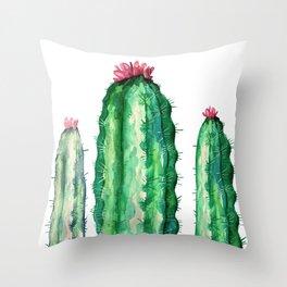 3 big cactuis Throw Pillow