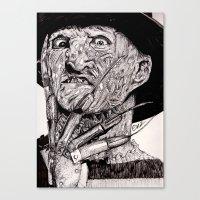 freddy krueger Canvas Prints featuring Freddy Krueger by Emz Illustration