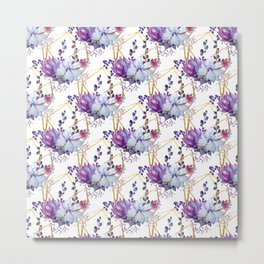 Watercolor purple lavender teal hand painted cactus floral Metal Print