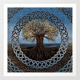Tree of life -Yggdrasil drawing Art Print