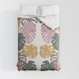 Multicolor Swiss Cheese Plant Leaves Comforters