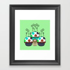 Cute Monster With Cyan And Blue Polkadot Cupcakes Framed Art Print
