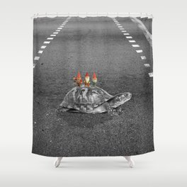 gnomes on a turtle Shower Curtain