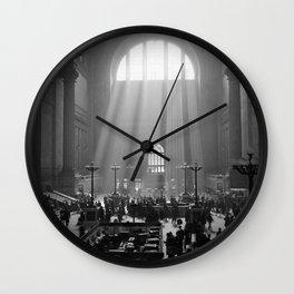 Penn Station, Rays of Light black and white photograph - black and white photography Wall Clock