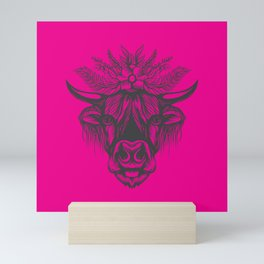 Pink Highland Cow Mini Art Print