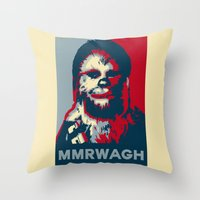 chewbacca Throw Pillows featuring Chewbacca  by Ilustrachii