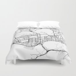 Shenzhen Map, China - Black and White  Duvet Cover