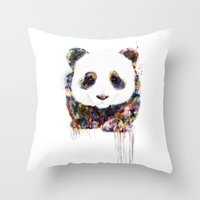 panda Throw Pillows featuring panda by ururuty