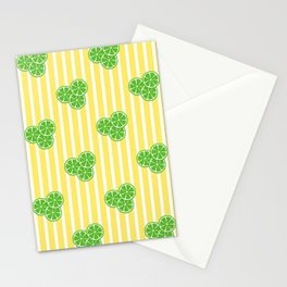 Lime Slices on Yellow and White Stripes Stationery Cards