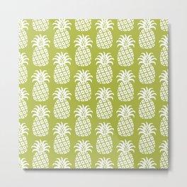 Mid Century Modern Pineapple Pattern Chartreuse Metal Print