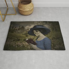 Skull woman reading a book Rug