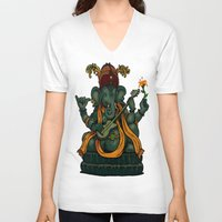 ganesha V-neck T-shirts featuring Ganesha by Nip Rogers