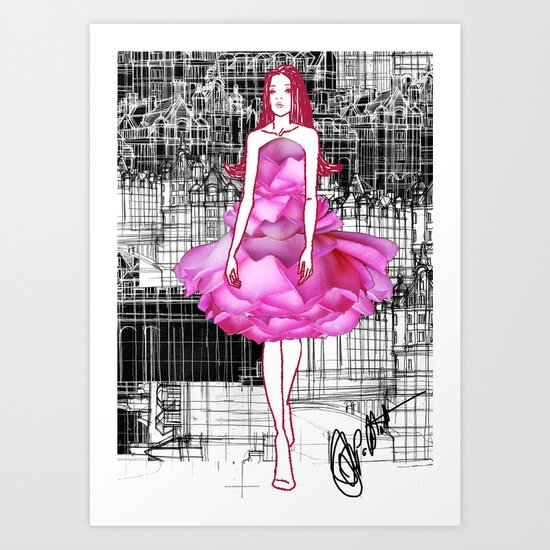My rose dress fashion illustration concept. Art Print