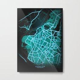Asuncion, Paraguay, Blue, White, Neon, Glow, City, Map Metal Print