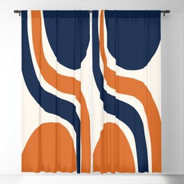 Abstract Shapes 66 in Burnt Orange and Navy Blue Blackout Curtain