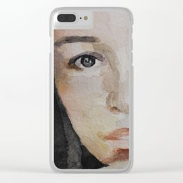 Watercolor painting, portrait beautiful girl Clear iPhone Case