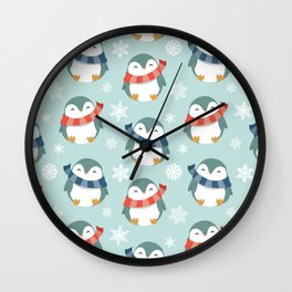 Winter penguins pattern Wall Clock