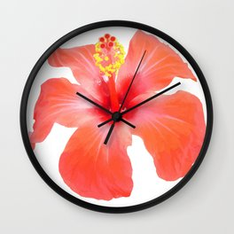 Red Hibiscus Vector Isolated Wall Clock