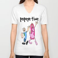 popeye V-neck T-shirts featuring popeye time by Chiaris