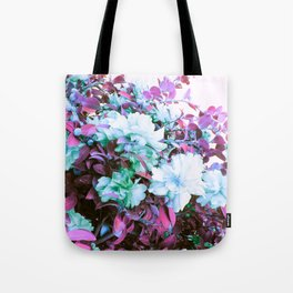Pink Blue Green Flowers Tote Bag