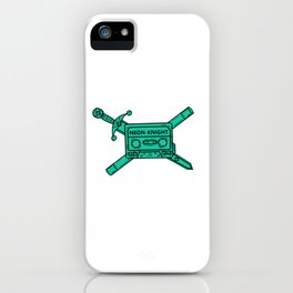 Neon Knight Cyan Cassette and Sword Crest iPhone Case