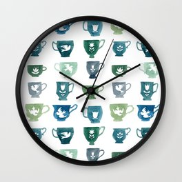 Green & Blue Teacups Wall Clock