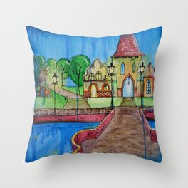 Landscape Painting Fairy town Acrylic S14 Contemporary Nursery Cityscape art for baby children kids Throw Pillow