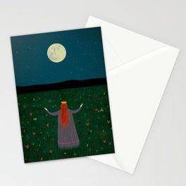 Night Sorceress worshipping the Moon Stationery Cards