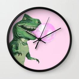 Bubble gum T-Rex in Pink Wall Clock