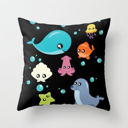 Cute Fish Ocean Design Whale Mussel Sea Ocean Gift Throw Pillow