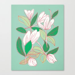 Floating Tulips (mint green) Canvas Print