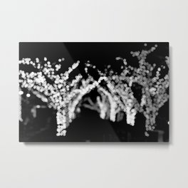 Twinkle Lights - Holiday Lights in Black and White Metal Print