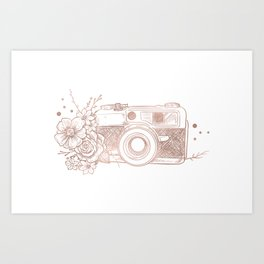 Floral Camera Pink Rose Gold Art Print