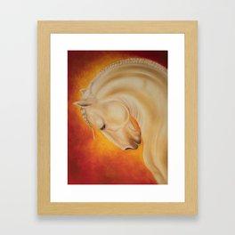 Fire Lusitano Horse oil Painting Framed Art Print