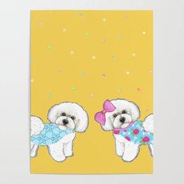 Bichon Frise Holidays yellow cute dogs, Christmas gift, holiday gift, birthday gift, dog, Bijon Poster