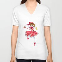 sakura V-neck T-shirts featuring Sakura by clayscence